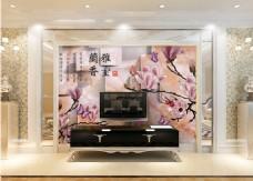 桃花花卉背景墙