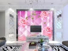 粉色花卉背景墙