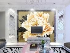 菊花装饰背景墙