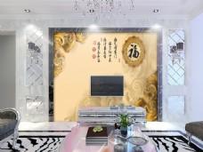 中式风景背景墙
