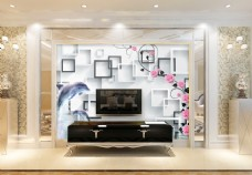相框花卉元素背景墙