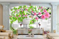 花卉树枝背景墙