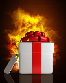 火焰前的礼物盒图片