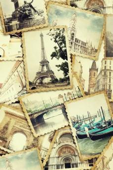 艾菲尔铁塔古老邮票图片