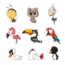 各种鸟类的手绘卡通图