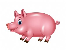 手绘可爱的一头肥猪