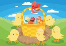 复活节小鸡向量背景