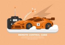 扁平化赛车插画