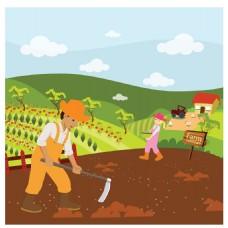 农村景观和农民扁平插画