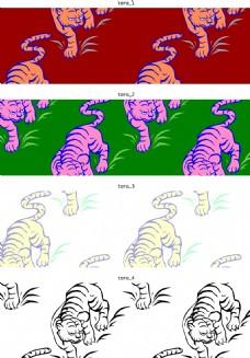 卡通老虎花纹素材