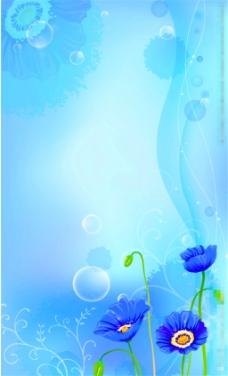 蓝色花朵背景图片1