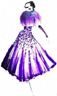 紫色晚礼服设计图图片