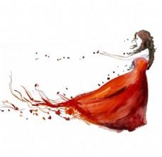 红色抹胸长裙设计图