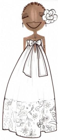 白色蝴蝶结礼服设计图图片
