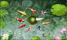 欢乐鱼儿美丽荷花装饰画