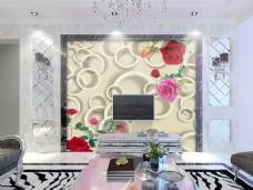 花卉圆圈装饰背景墙