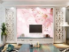 粉色花卉装饰背景墙