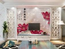 红色花卉装饰背景墙