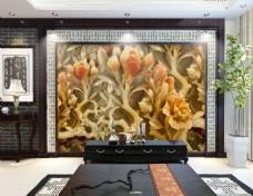 玉雕花纹背景墙
