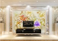 花卉元素背景墙