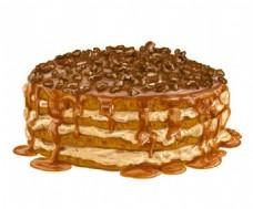 手绘水彩美味的蛋糕