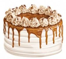 手绘水彩焦糖蛋糕