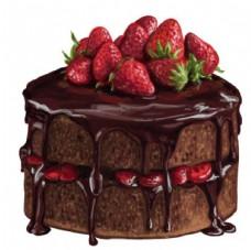 手绘水彩巧克力草莓蛋糕