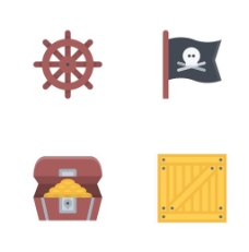 海轮财宝骷髅旗简洁矢量icon