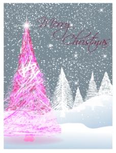扁平圣诞树插画