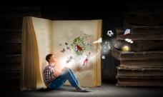 书籍和魔法书孩子图片