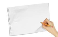 手势与空白纸张图片