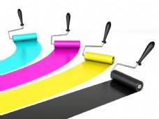 四色油漆与刷子图片