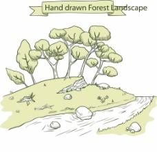 河边树木插画