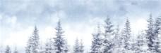 唯美森林雪景banner背景