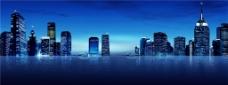 蓝色城市建筑banner背景图