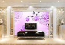 紫色花卉背景墙