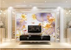 花卉元素装饰背景墙