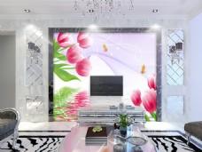 花瓣装饰背景墙