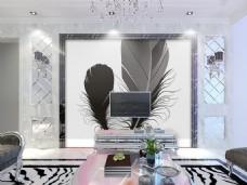 羽毛装饰背景墙