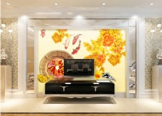 金色牡丹花卉背景墙