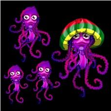 手绘四只紫色章鱼