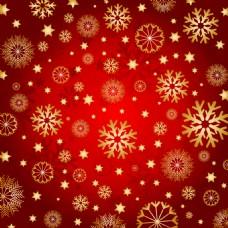 红色背景上的金色雪花