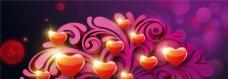 浪漫紫色梦幻爱心背景图