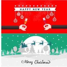 圣诞节和新年宣传横幅