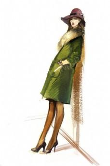 绿色时尚女装设计图