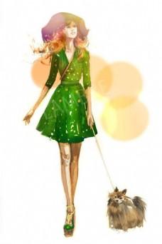 绿色休闲裙设计图