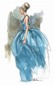 蓝色蓬蓬裙礼服