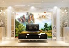 山水风景背景墙