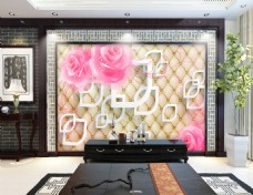 方格子背景墙花卉背景墙