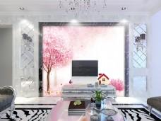 桃树花卉装饰背景墙